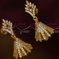 South Indian Jewellery Screw Lock White Colour AD Stones Jimikky Earrings Shop Online