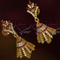 South Indian Jewellery Screw Lock Ruby White AD Stones Jimikky Earrings Shop Online