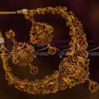 Polki Kemp Combination Temple Peacock Small Necklace Matte Antique Jewellery Shop Online