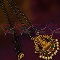 Matte Gold Plated Temple Pendant 2 Line Mangalsutra Black Beads Mala Ruby Emerald Stones