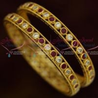 Ruby White American Diamond Stones Jewellery 2 Pcs Bangles Shop Online