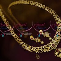 AD White Stones Floral Casting Design Gold Plated Haram Latest Jewelry Online