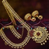 South Indian Jewelry AD Haram 20 Inches Ruby White Semi Precious Stones Online