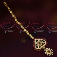 AD Hair Jewelry Ruby White Maang Tikka Nethichutti Light Gold Plated Shop Online