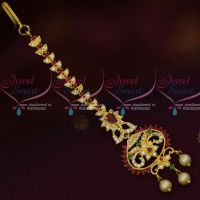 AD Forehead Jewelry Multi Colour Maang Tikka Nethichutti Light Gold Plated Shop Online