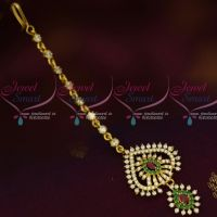 AD Hair Jewelry Multi Color Maang Tikka Nethichutti Light Gold Plated Shop Online