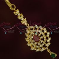 AD Jewelry Small Short Maang Tikka Nethichutti Party Wear Designs Online