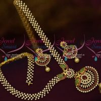 Traditional South Indian Gold Plated Jewelry AD Semi Precious Haram Latest Designs