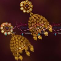 Antique Matte Gold Plated Jhumka Earrings Latest Stylish Design Shop Online