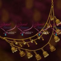 3 Layer Chain Jhumka Pearl Drops Antique Mattal Latest Jewelry Designs Online