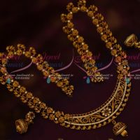 Matte Gold Plated Haram South Indian Jewelry Floral Design Latest Collections Online
