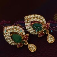 AD Gold Plated Jewelry Traditional Design Multi Colour Stones Ear Studs Screwback Online