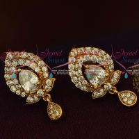 AD Gold Plated Jewelry Traditional Design White Stones Ear Studs Screwback Online