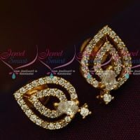Daily Wear AD Jewelry Ear Studs White Stones Light Weight Designs Online