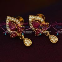 Pear Shape Drops Traditional Design Ruby White Stones Ear Studs Screwback Online