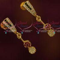 Screwback South Indian Ear Studs Stylish Drops Multi Colour AD Jewelry Shop Online