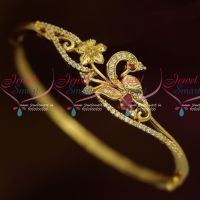 Gold Plated Peacock Open Type Bracelet AD Ruby White Jewelry Shop Online