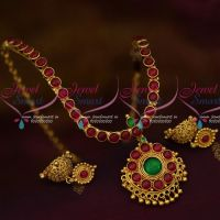 South Indian Traditional Design Kemp Spinel Ruby Thick Metal Handmade Jewelry Set Online
