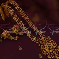 3 Line Kemp Polki AD Stones Haram Jhumka Earrings Traditional Matte Gold Plated Jewelry Online
