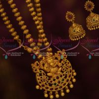 Lord Ganapathy Design Red Green Antique Temple Jewellery Nagas Chain Pendant Jhumka Sets Shop Online