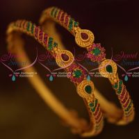 Ruby Emerald Matte Gold Plated Fashion Jewelry 2 Pcs Set Low Price Bangles Online