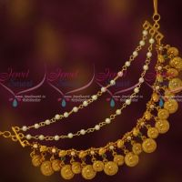 3 Layer Coin Matte AD Stones Mattal Latest Traditional Bridal Hair Decoration Jewelry Online
