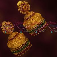 Peacock Design Double Step Bead Drops Matte Gold Finish Jhumka Earrings Online