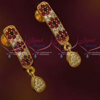 AD Womens Ear Studs J Type Multi Colour Stones Screwback South Indian Designs Online