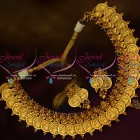 Temple Antique Jewelry Leaf Coin Design Laxmi God Engraved Gold Finish Online