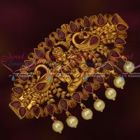 Temple Traditional Latest Jewellery Matte Gold Plated Hair Clip Ruby Stones Online