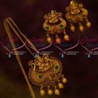 Lord Ganapathy Antique Jewelry Pendant Earrings Red Green Stones Matte Gold Plated