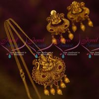 Matte Gold Plated Red Stones Lord Ganapathy Antique Jewelry Pendant Earrings