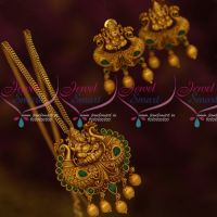 South Indian Traditional Temple Jewelry Green Stones Pendant Earrings Online