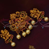 South Indian Traditional Design Pendant Earrings Red Green Stones Shop Online