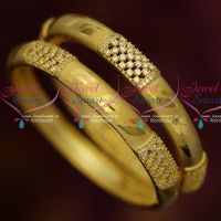 Hollow Design Broad Light Gold Plated AD White Stone Bangles Latest Jewelry Online