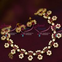 Ruby White Semi Precious Stones Traditional Look Short Necklace Shop Online