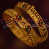 Matte Reddish Gold Plated Screw Open Fancy Bangles Latest Jewelry Online