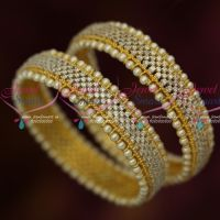 Broad AD White Stones Pearl Outline Design Latest Bangles Collections Online