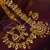 Broad Peacock Haram Traditional Gold Design Real Look Premium Finish Matte Gold Plated