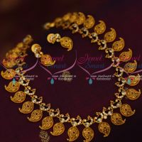 AD Matte Gold Plated Jewellery Short Peacock Mango Mala Traditional Finish Online