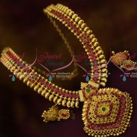 Traditional South Indian Gold Plated Jewellery Mango Necklace Red Green Stones Online