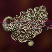 Red Green Peacock Fashion Jewelry Matte Silver Plated Hair Clip Collections Online
