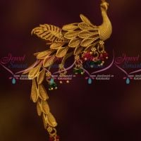 Peacock Design Wagging Tail Saree Pin Brooch Lates Matte Gold Plated Jewelry Online