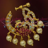 Semi Precious Stones Gold Plated Ruby White Pearls Nose Rings Screw Lock