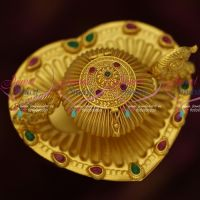 Peacock Sindoor Box Tray Ruby Emerald One Gram Gold Finish Peacock Design