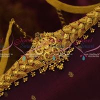 Temple One Gram Jewellery Gold Finish Chain Vaddanam Bridal Collections Online