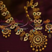 Broad Peacock Traditional Gold Design Real Look Premium Finish Matte Gold Plated Necklace