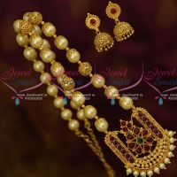 Gold Plated Pearl Traditional Jewelry Floral Caps Shell Beads Kemp Pendant Jhumka