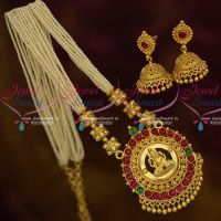 Hand Beaded Rice Pearls Kemp Temple Gold Plated Pendant Jhumka Earrings Online