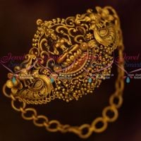 Temple Chain Vanki Baju Band Small Size Curve Shape Matte Antique Gold Plated Online